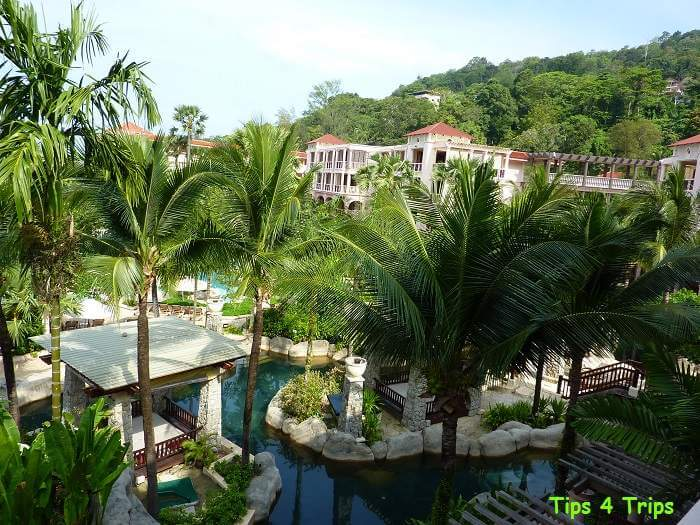 View of the lazy river pool from our Deluxe Ocean Facing Room in my Centara Grand Phuket review
