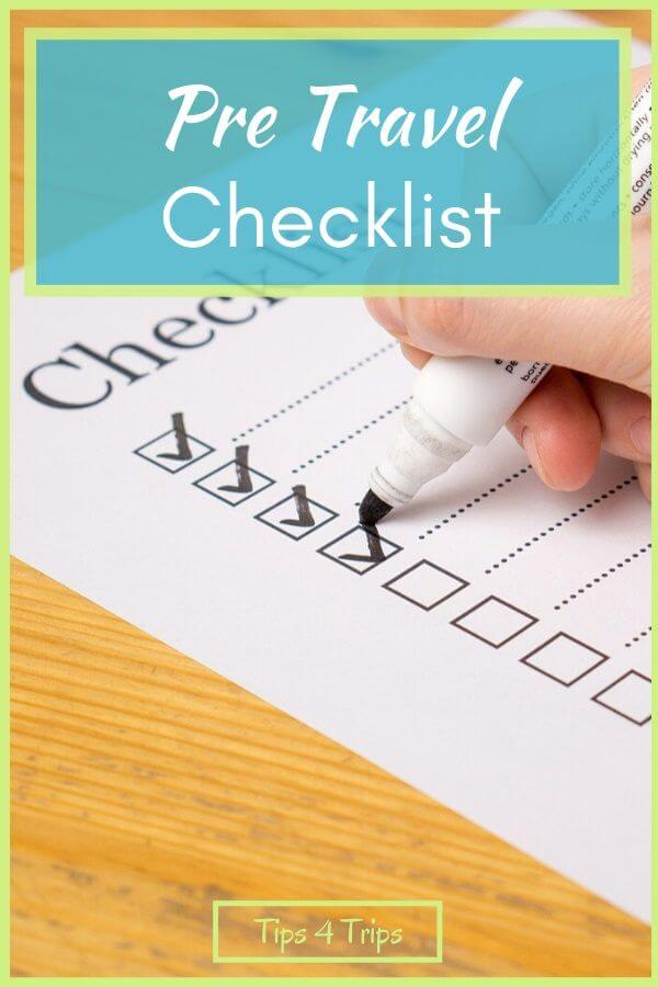 a pre-travel checklist being checked off